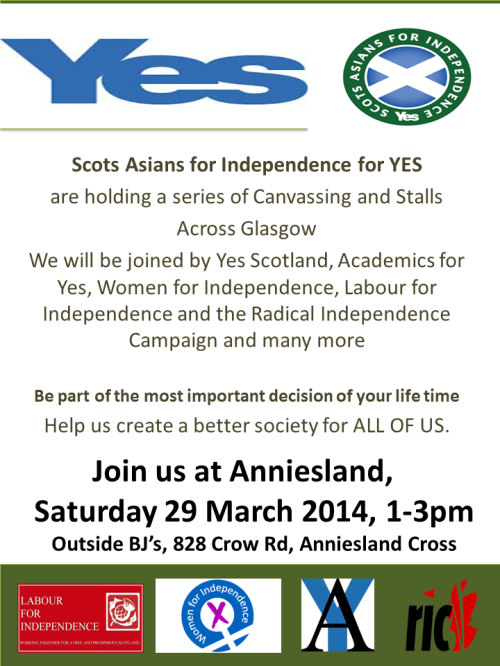 SAFY Canvass 29 March Anniesland Cross, Glasgow