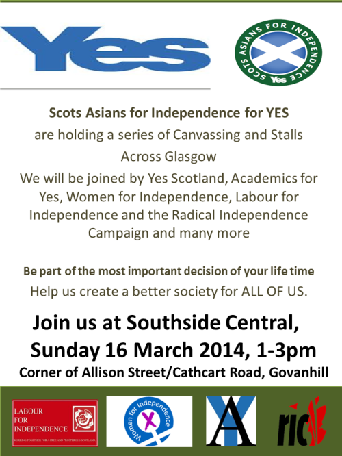 Southside Central, Glasgow Canvass Saturday 16 March #indyref #YES