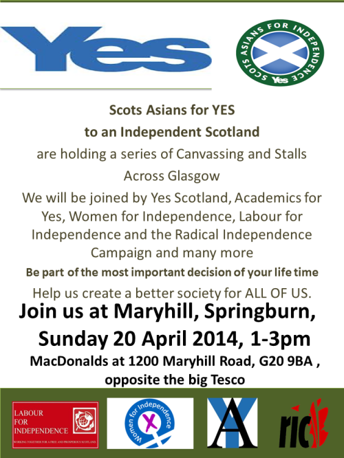 SAFY Canvass Maryhill Springburn, 1-3pm, 20 April
