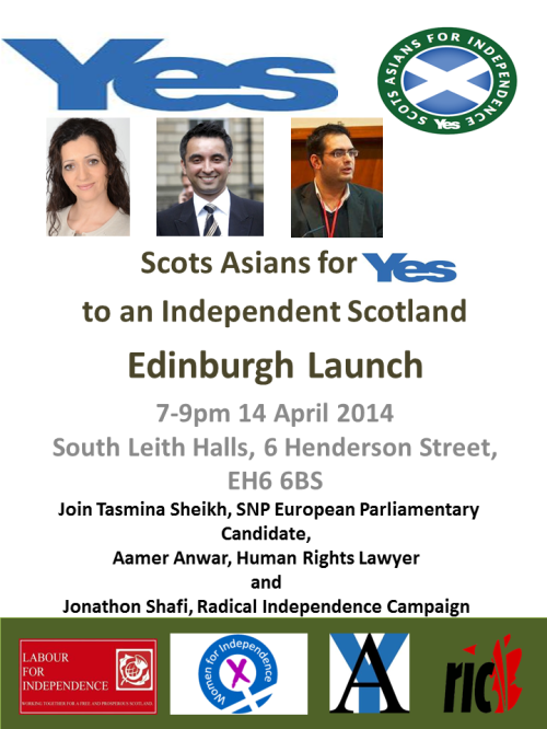 Scots Asians for Yes Edinburgh Launch 14 April