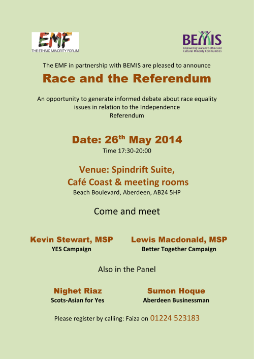 Race & The Referendum Debate, Aberdeen, 26 May