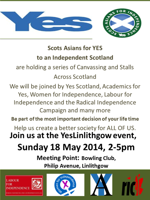 Join Scots Asians for Yes at Yes Linlithgow Event 18 May